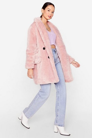 Rose Looking Faux Fur Me Relaxed Longline Coat