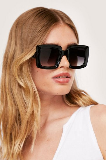 Black Oversized Chunky Square Tinted Sunglasses