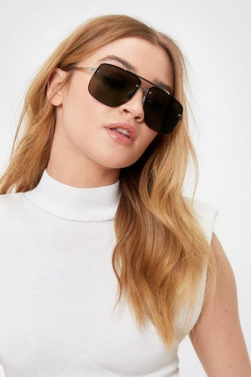 Black Tinted Square Frame Aviator Sunglasses