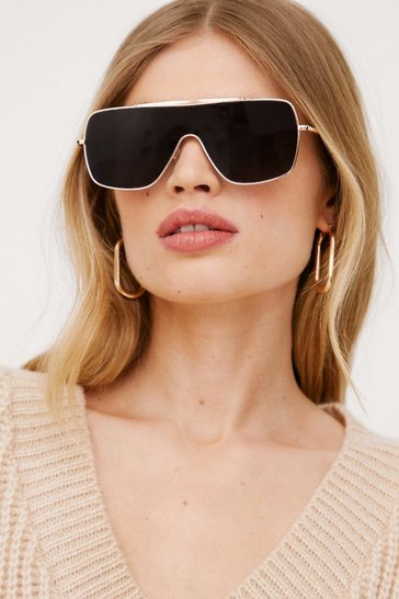 Black Aviator Oversized Sunglasses