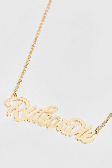 Gold Ride or Die Slogan Chain Necklace