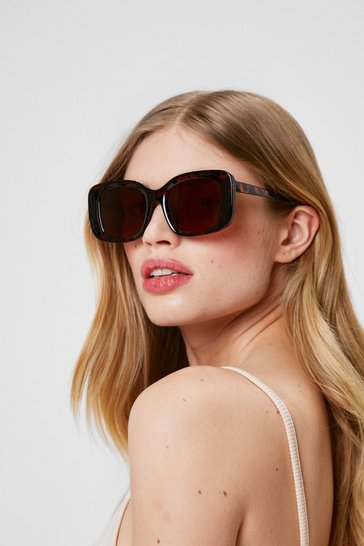 Brown Wild Torts Rectangle Tinted Sunglasses