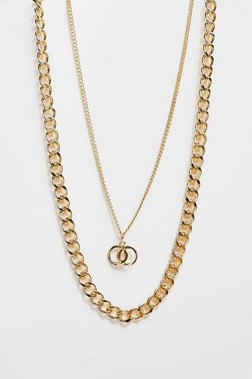 Gold Circle Back Layered Chain Necklace