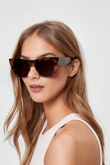 Brown Tortoiseshell Oversized Cat Eye Sunglasses