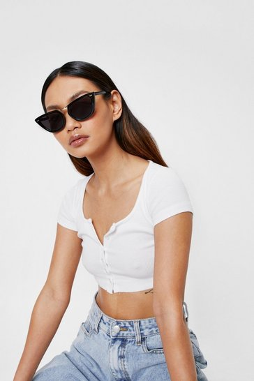 White T Bar Tinted Cat Eye Sunglasses