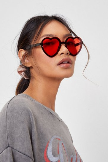 Red Groovy Times Oversized Tinted Heart Glasses
