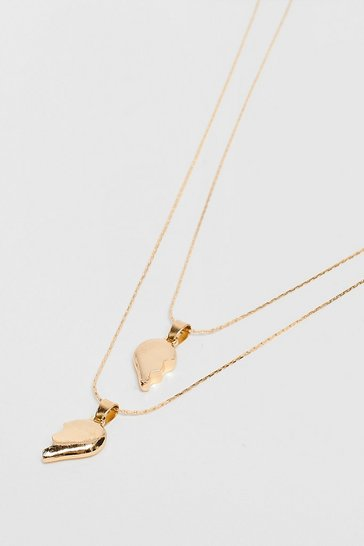Gold We're Better Together Heart 2-Pc Necklace Set