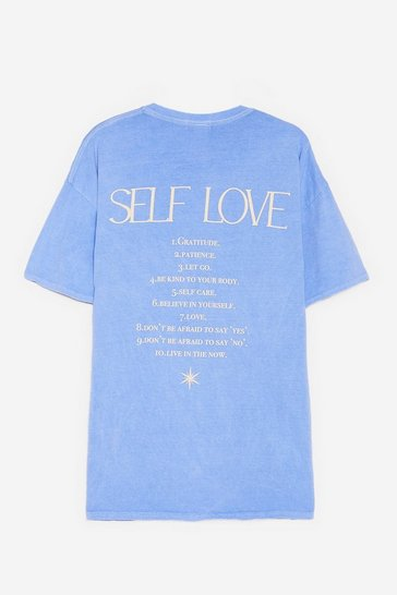 Blue Plus Size Self Love Oversized Graphic T-Shirt