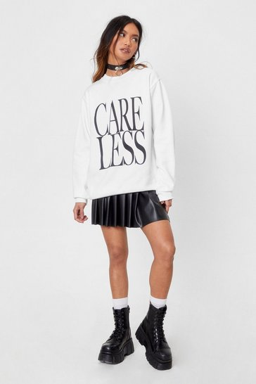 White Care Less Petite Oversized Graphic Sweatshirt