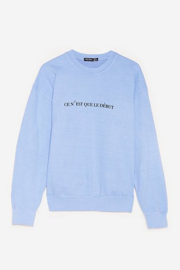 Blue Plus Size Just The Beginning Graphic Sweatshirt