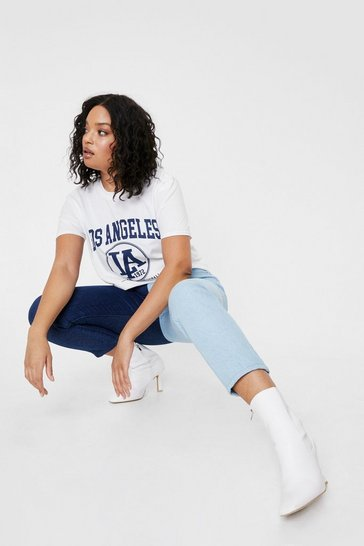 White Plus Size Los Angeles Relaxed Graphic T-Shirt