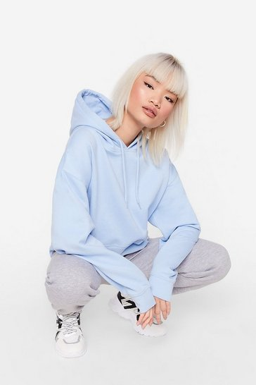Blue The Wait is Over-sized Petite Hoodie