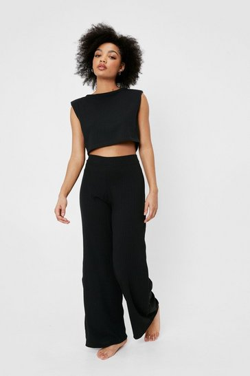 Black Hit Snooze Petite Wide-Leg Lounge Set
