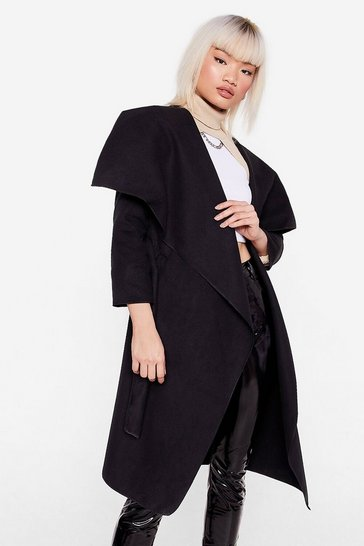 Black Waterfall Into Place Petite Belted Coat