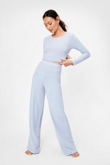 Blue Petite Backless Tie Wide Leg Pants Set