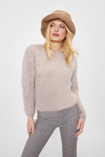 Taupe We're Keeping Knit Quick Fluffy Relaxed Sweater