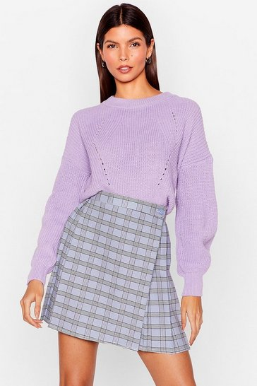 Lilac What Crew You Mean Chunky Knit Sweater