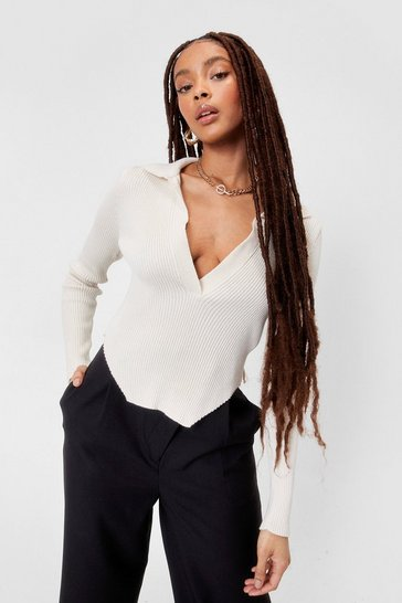 Ivory Let's Call Knit Even Asymmetric Top