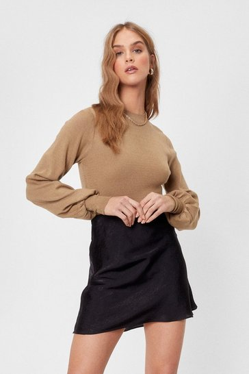 Camel Give Knit Up Relaxed Balloon Sleeve Jumper