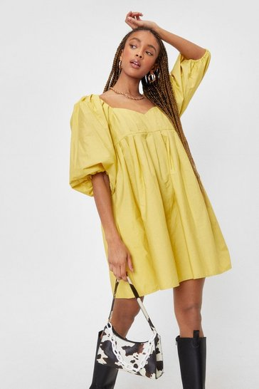 Chartreuse Pleated Puff Sleeve Mini Smock Dress