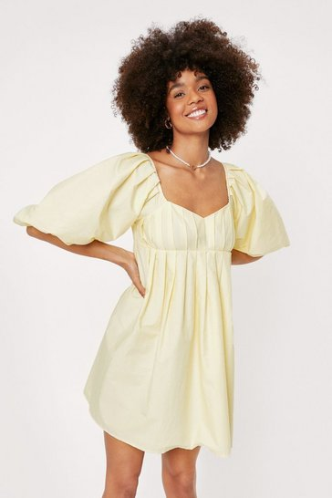 Lemon Pleated Puff Sleeve Mini Dress