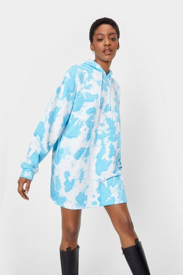 Baby blue When This is Over-sized Tie Dye Hoodie Dress