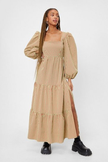 Lime Gingham Puff Sleeve Smock Maxi Dress