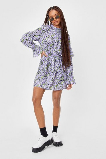 Black Leaf Print Ruffle Sleeve Skater Dress