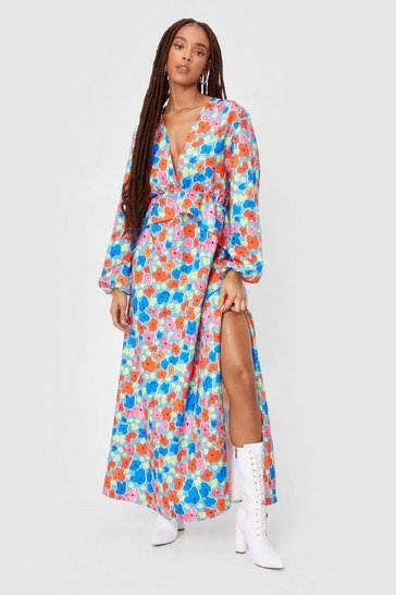 Blue Floral Flowy V Neck Maxi Dress