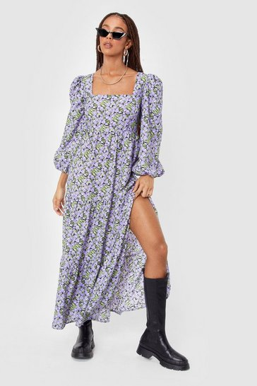 Black Square Neck Floral Maxi Smock Dress