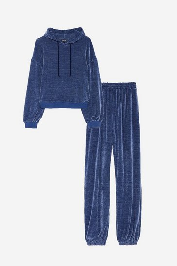 Navy Plus Size Chenille Joggers Loungewear Set