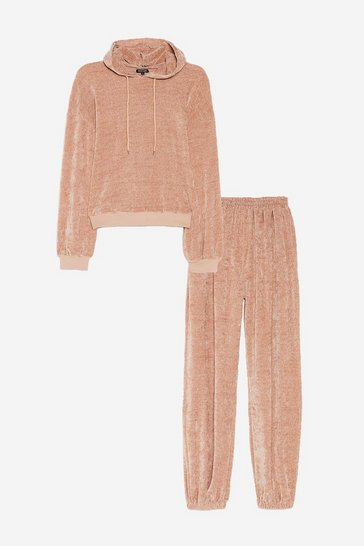 Oatmeal Plus Size Chenille Sweatpants Loungewear Set