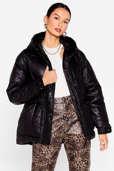 Black Faux Leather Belted Puffer Jacket