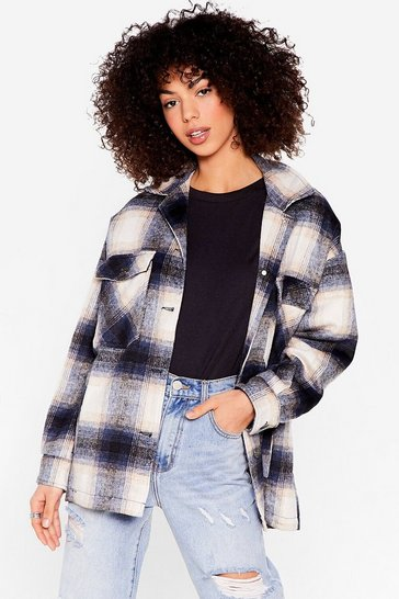 Blue Gotta Check Through This Faux Wool Shirt Jacket