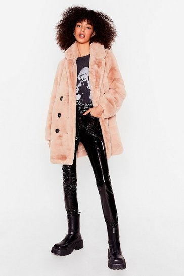 Beige Oversized Faux Fur Button Down Coat