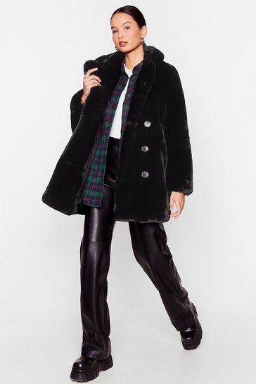 Black I'm Here Faux Fur You Oversized Coat