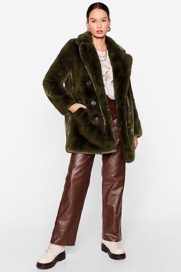 Khaki I'm Here Faux Fur You Oversized Coat