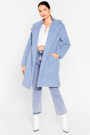Blue Hold Me Close Faux Fur Longline Coat