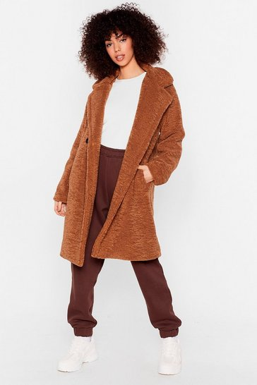 Camel Hold Me Close Faux Fur Longline Coat
