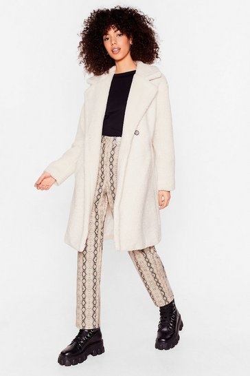 Cream Hold Me Close Faux Fur Longline Coat