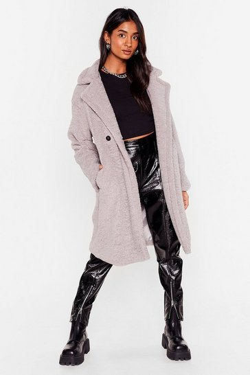 Grey Hold Me Close Faux Fur Longline Coat