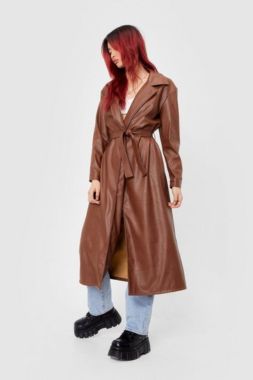 Chocolate Longline Time Comin' Faux Leather Shirt Jacket