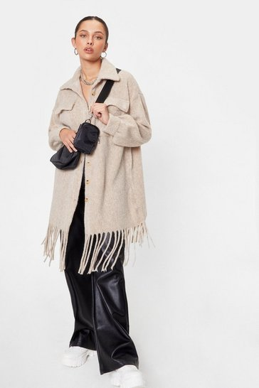 Cream Do the Right Fringe Faux Wool Shirt Jacket