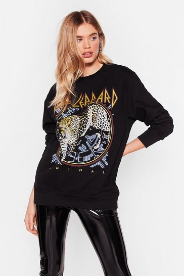 Black Def Leppard License Graphic Band Sweatshirt
