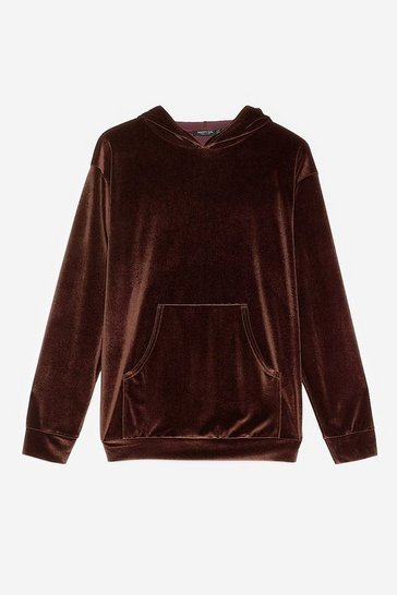 Chocolate Velour Oversized Front Pocket Hoodie