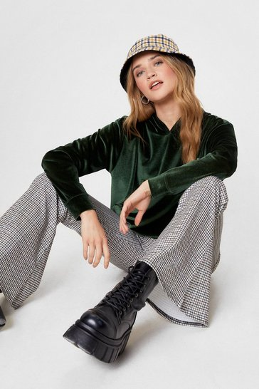 Olive Soft On You Cropped Velvet Hoodie