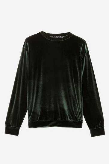 Olive Velour Crew Neck Oversized Sweatshirt
