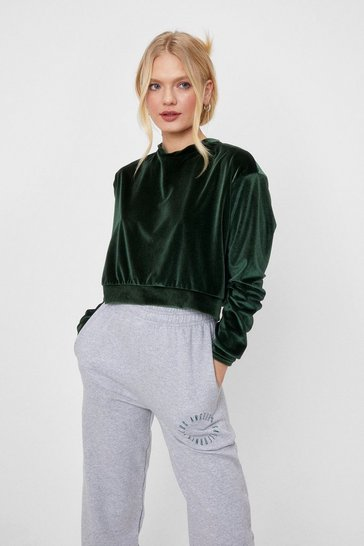 Olive All the Feels Velvet Cropped Sweatshirt