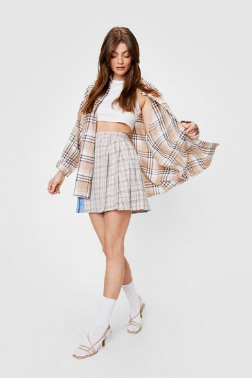 Beige Pocket Oversized Button Down Check Shirt