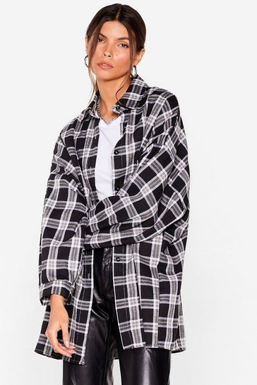 Black Pocket Oversized Button Down Check Shirt